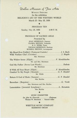 Religious Art of the Western World [Program from Program of Sacred Arias]