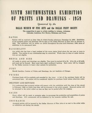 Primary view of object titled 'Ninth Southwestern Exhibition of Prints and Drawings - 1959  [Entry Rules]'.