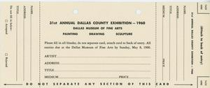 31st Annual Dallas County Exhibition - 1960 [Entry Form]