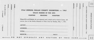 Primary view of object titled '32nd Annual Dallas County Exhibition - 1961 [Entry Form]'.