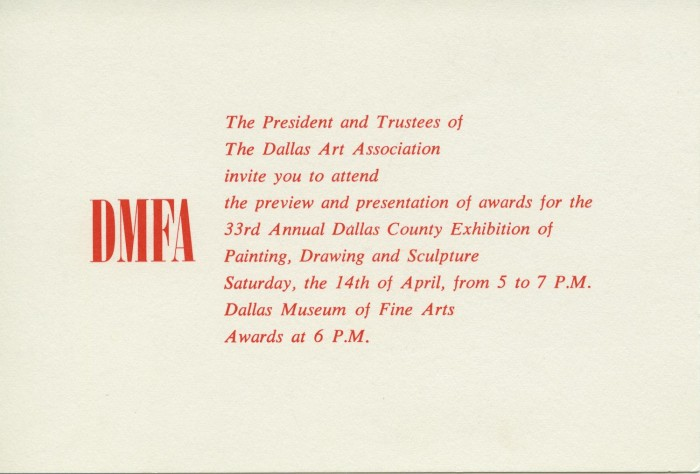 Invitation preview and presentation of awards for the 33rd annual invitation preview and presentation of awards for the 33rd annual dallas county exhibition of painting drawing and sculpture stopboris Choice Image