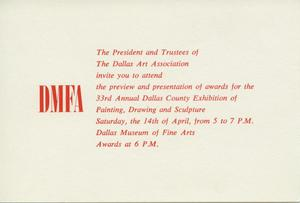 Primary view of object titled '[Invitation, Preview and Presentation of Awards for the 33rd Annual Dallas County Exhibition of Painting, Drawing, and Sculpture]'.