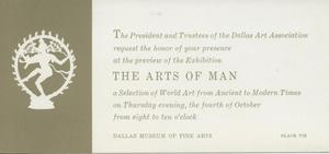 "Primary view of object titled '[Invitation to the preview for the ""Arts of Man"" exhibition]'."