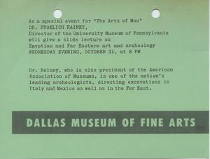 Primary view of object titled '[Event notice for a lecture on Egyptian and Far Eastern art and archeology]'.