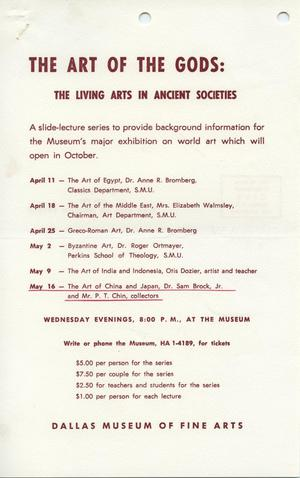 Primary view of object titled 'The Art of the Gods: The Living Arts in Ancient Societies [Event Notice]'.