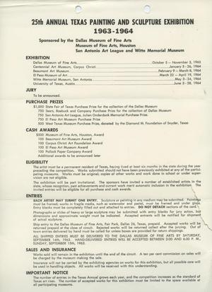 Primary view of object titled '25th Annual Texas Painting and Sculpture Exhibition, 1963-1964 [Fact Sheet]'.