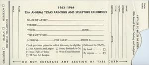 Primary view of object titled '25th Annual Texas Painting and Sculpture Exhibition [Entry Form]'.