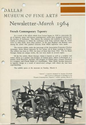 Primary view of object titled 'Dallas Museum of Fine Arts Newsletter, March 1964'.