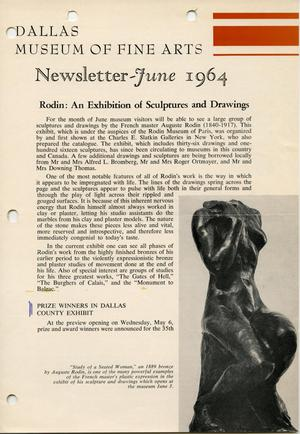 Primary view of object titled 'Dallas Museum of Fine Arts Newsletter, June 1964'.