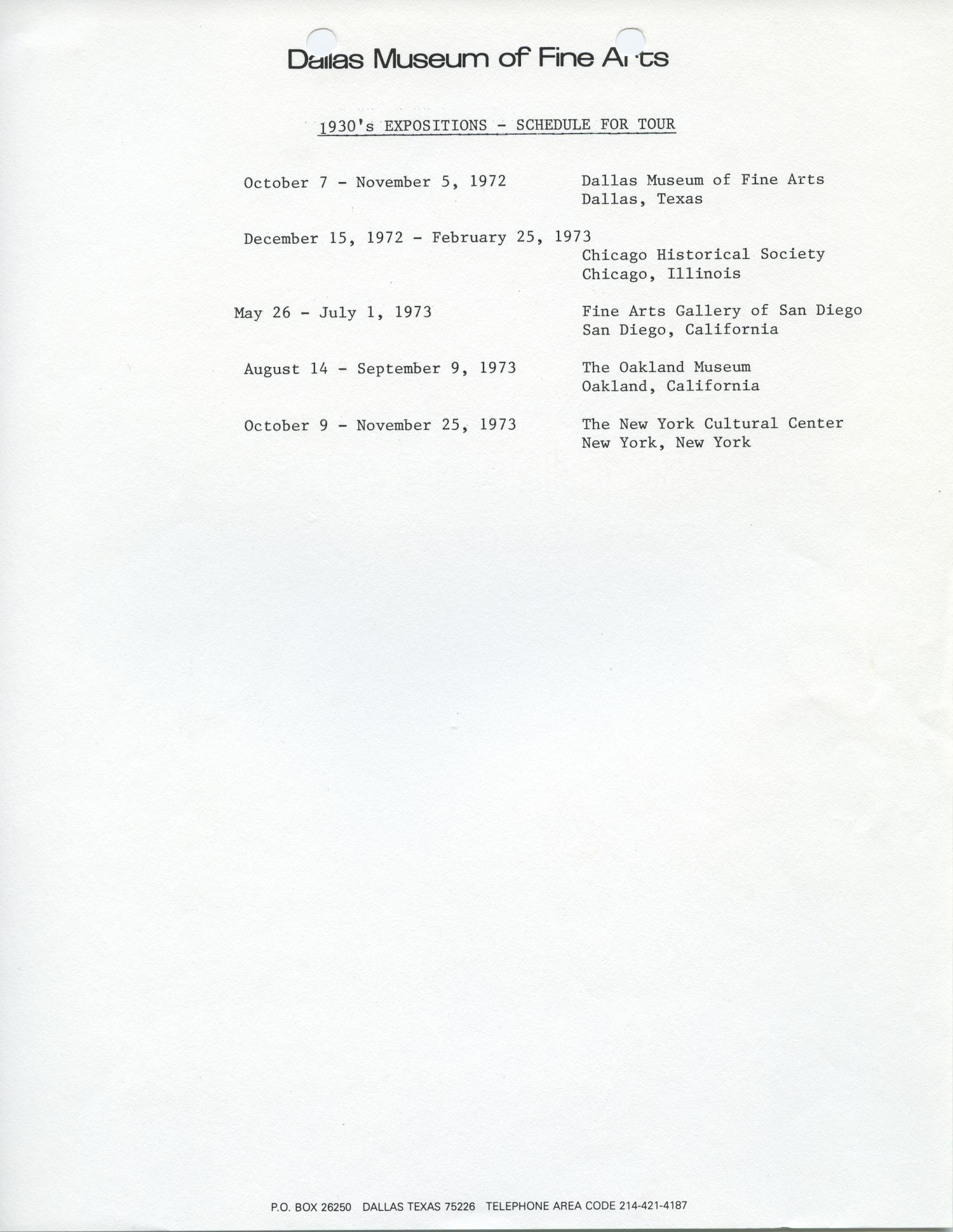 1930's Expositions - Schedule for Tour [Tour Schedule]                                                                                                      [Sequence #]: 1 of 1
