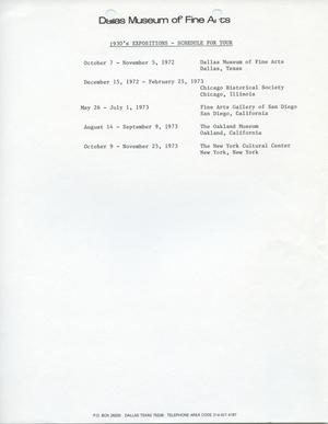 Primary view of object titled '1930's Expositions - Schedule for Tour [Tour Schedule]'.