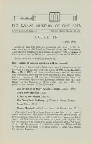 Primary view of object titled 'Bulletin of the Dallas Museum of Fine Arts, March 1938'.
