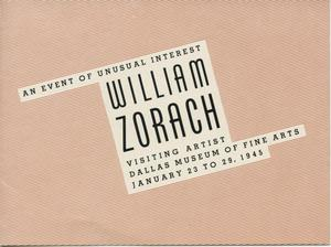 Primary view of object titled '[Announcement for William Zorach: Sculpture and Watercolors exhibition]'.