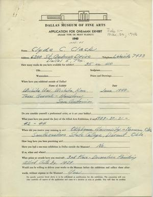 Primary view of object titled 'Application for One-Man Exhibit [Clyde C. Clack: One–Man Show]'.