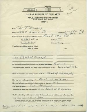 Primary view of object titled 'Application for One-Man Exhibit [Charles T. Bowling: One–Man Show]'.