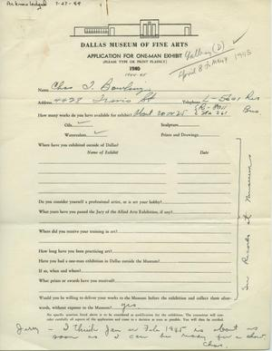 Primary view of object titled 'Application for One-Man Exhibit [Additional Application for Charles T. Bowling: One–Man Show]'.