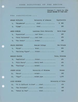Some Sculptors of the Region [Checklist]
