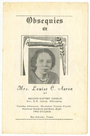 Primary view of object titled '[Funeral Program for Louise C. Aaron, December 24, 1968]'.