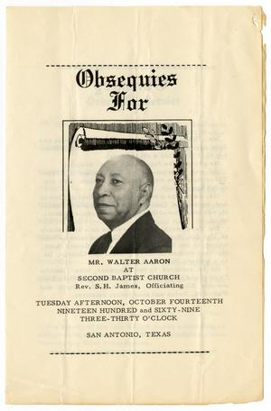 Primary view of object titled '[Funeral Program for Walter Aaron, October 14, 1969]'.