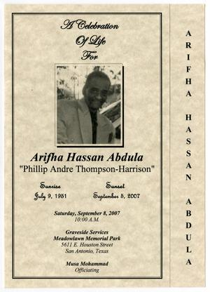 Primary view of object titled '[Funeral Program for Arifha Hassan Abdula, September 8, 2007]'.