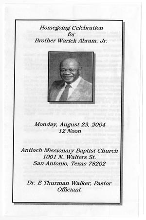 Primary view of object titled '[Funeral Program for Warick Abram, Jr., August 23, 2004]'.