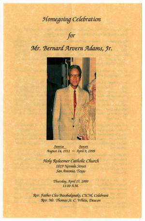 [Funeral Program for Bernard Arvern Adams, Jr., April 15, 1999]