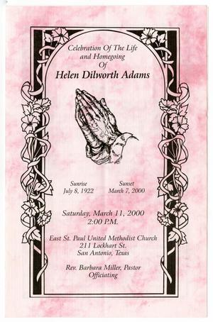 Primary view of object titled '[Funeral Program for Helen Dilworth Adams, March 11, 2000]'.