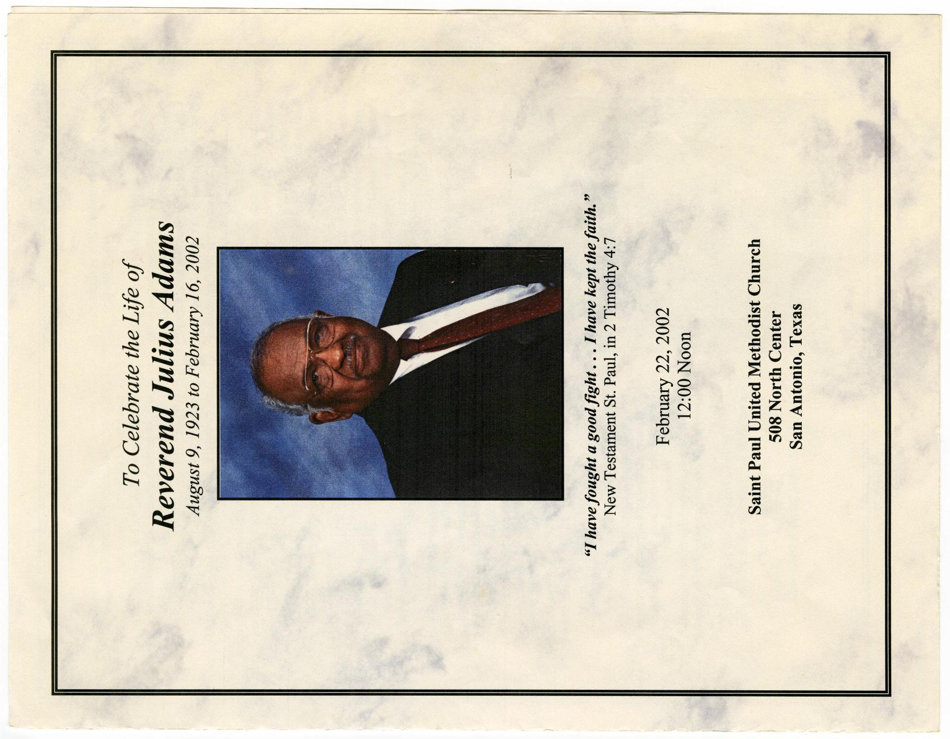 [Funeral Program for Julius Adams, February 22, 2002]                                                                                                      [Sequence #]: 1 of 3