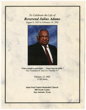 Primary view of object titled '[Funeral Program for Julius Adams, February 22, 2002]'.