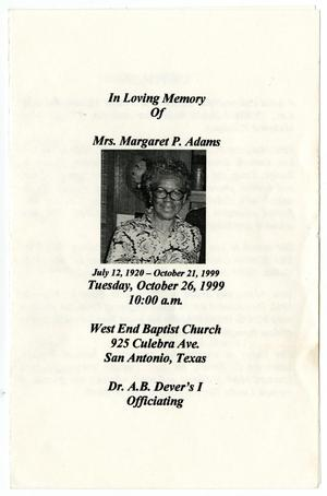 Primary view of object titled '[Funeral Program for Margaret P. Adams, October 26, 1999]'.