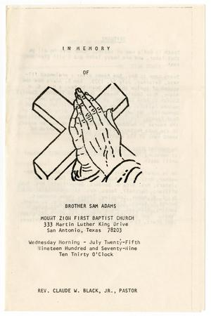 Primary view of object titled '[Funeral Program for Sam Adams, July 25, 1979]'.