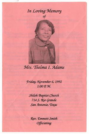 [Funeral Program for Thelma I. Adams, November 6, 1992]