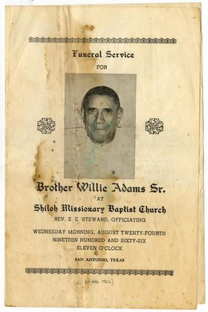 Primary view of object titled '[Funeral Program for Willie Adams, Sr., August 24, 1966]'.