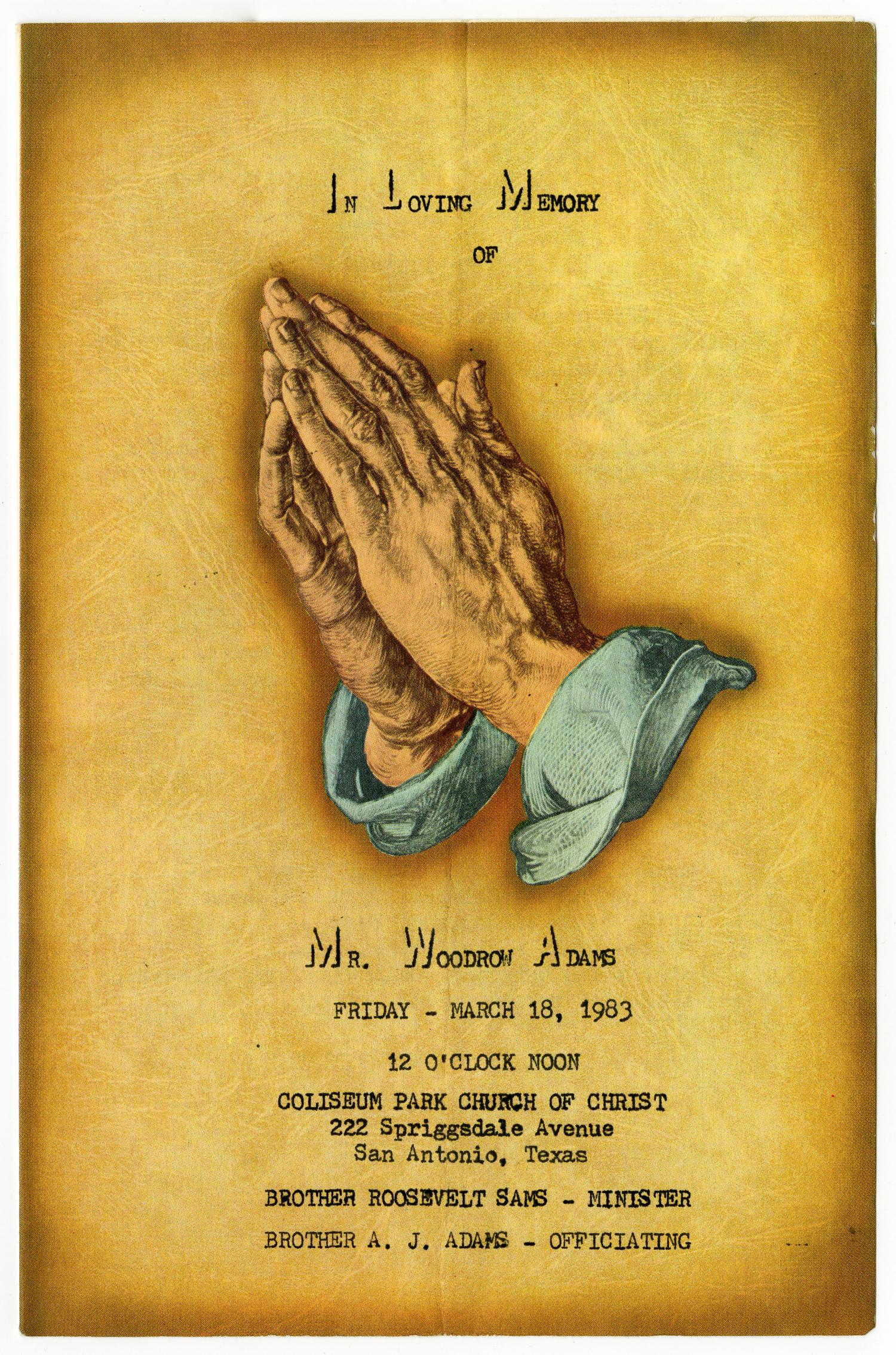 [Funeral Program for Woodrow Adams, March 18, 1983]                                                                                                      [Sequence #]: 1 of 3