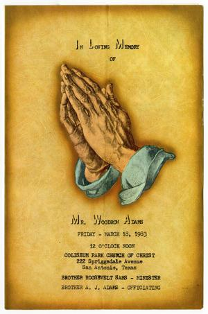 Primary view of object titled '[Funeral Program for Woodrow Adams, March 18, 1983]'.