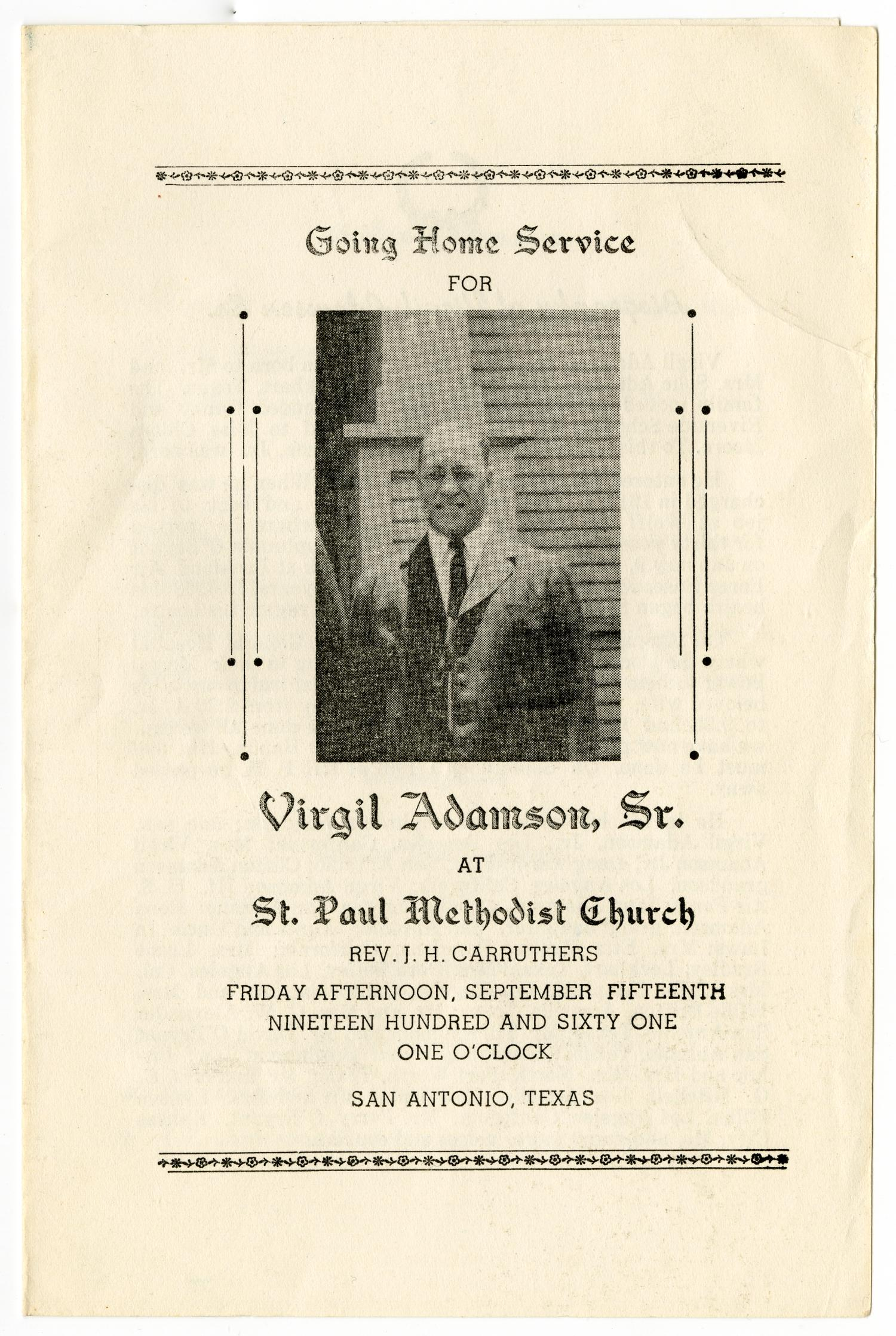 [Funeral Program for Virgil Adamson, Sr., September 15, 1961]                                                                                                      [Sequence #]: 1 of 3