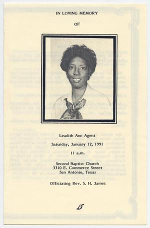 Primary view of object titled '[Funeral Program for Leadith Ann Agent, January 12, 1991]'.