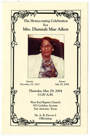 Primary view of object titled '[Funeral Program for Diannah Mae Aiken, July 29, 2004]'.