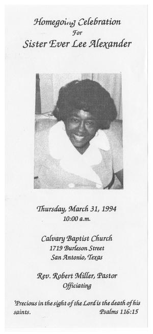 [Funeral Program for Ever Lee Alexander, March 31, 1994]