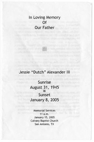 Primary view of object titled '[Funeral Program for Jessie Alexander, III, January 15, 2005]'.