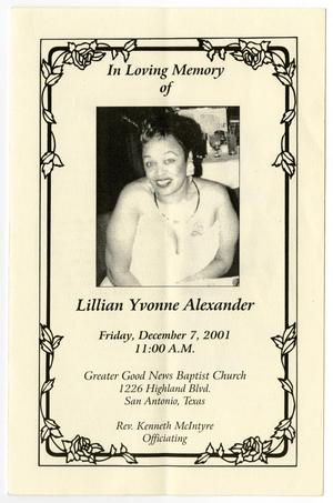 Primary view of object titled '[Funeral Program for Lillian Yvonne Alexander, December 7, 2001]'.