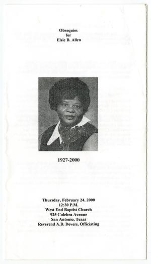 Primary view of object titled '[Funeral Program for Elsie B. Allen, February 24, 2000]'.