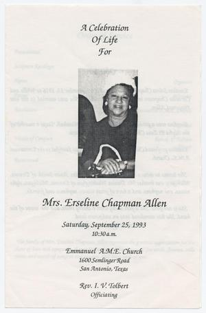 Primary view of object titled '[Funeral Program for Erseline Chapman Allen, September 25, 1993]'.
