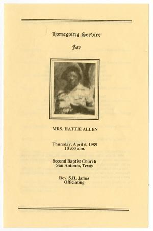Primary view of object titled '[Funeral Program for Hattie Allen, April 6, 1989]'.