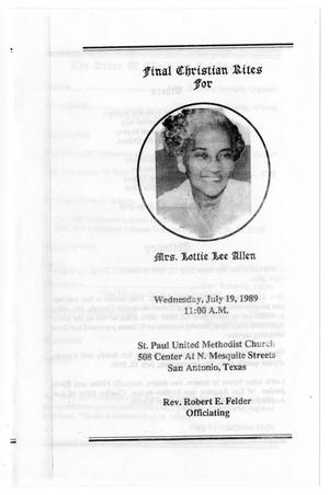 Primary view of object titled '[Funeral Program for Lottie Lee Allen, July 19, 1989]'.