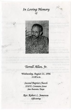 Primary view of object titled '[Funeral Program for Terrell Allen, Jr., August 21, 1996]'.