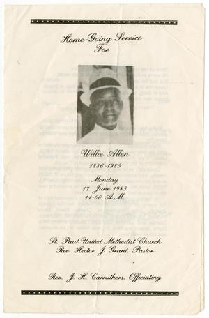Primary view of object titled '[Funeral Program for Willie Allen, June 17, 1985]'.