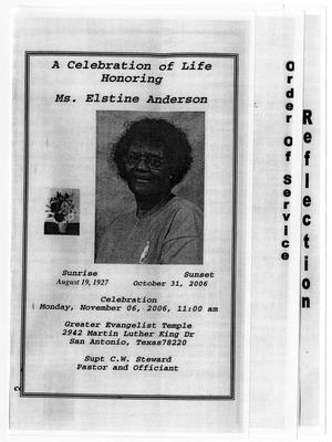 [Funeral Program for Elstine Anderson, November 6, 2006]