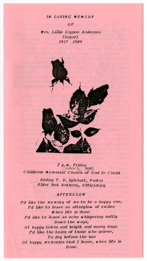 Primary view of object titled '[Funeral Program for Lillie Gipson Anderson, March 3, 1989]'.