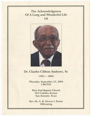 Primary view of object titled '[Funeral Program for Charles Andrews, Sr., September 23, 2004]'.